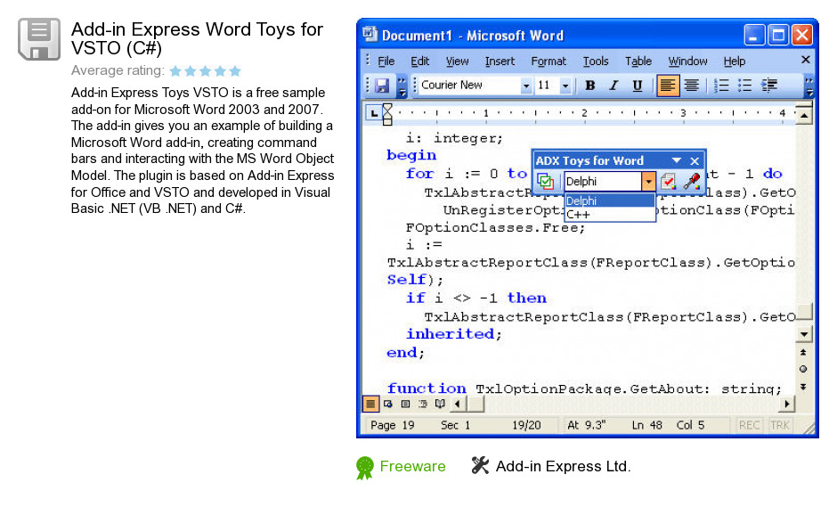 Add-in Express Word Toys for VSTO (C#)