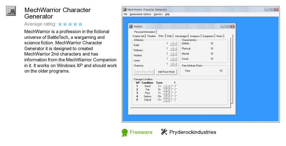 MechWarrior Character Generator