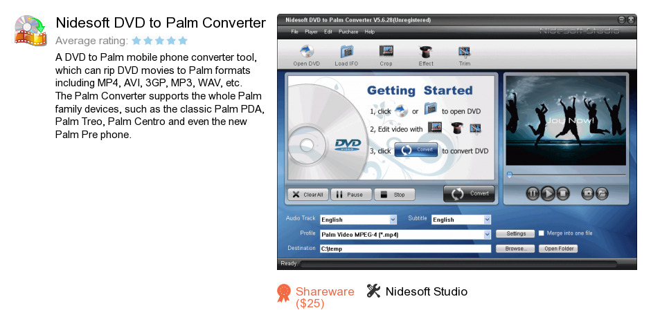Nidesoft DVD to Palm Converter