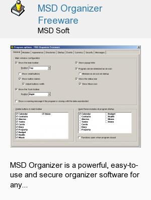 MSD Organizer Freeware