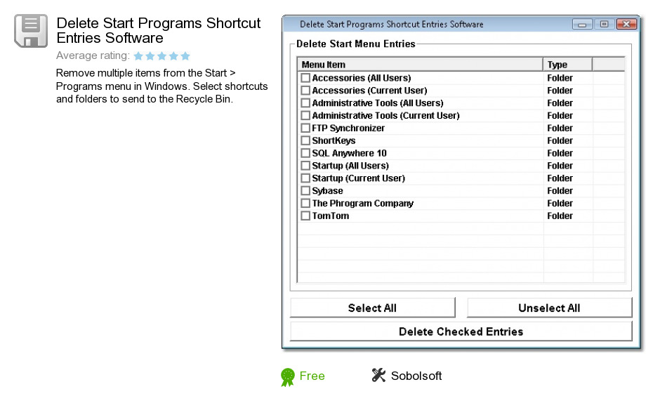 Delete Start Programs Shortcut Entries Software