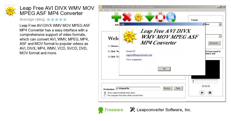 Leap Free AVI DIVX WMV MOV MPEG ASF MP4 Converter