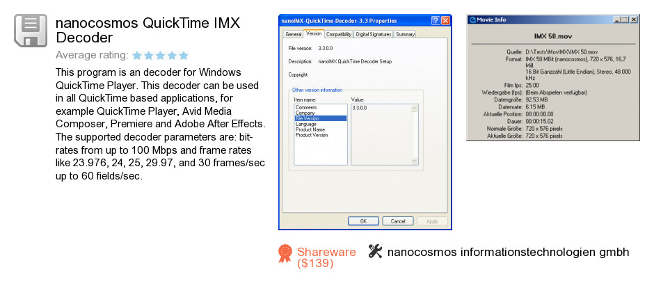 Nanocosmos QuickTime IMX Decoder