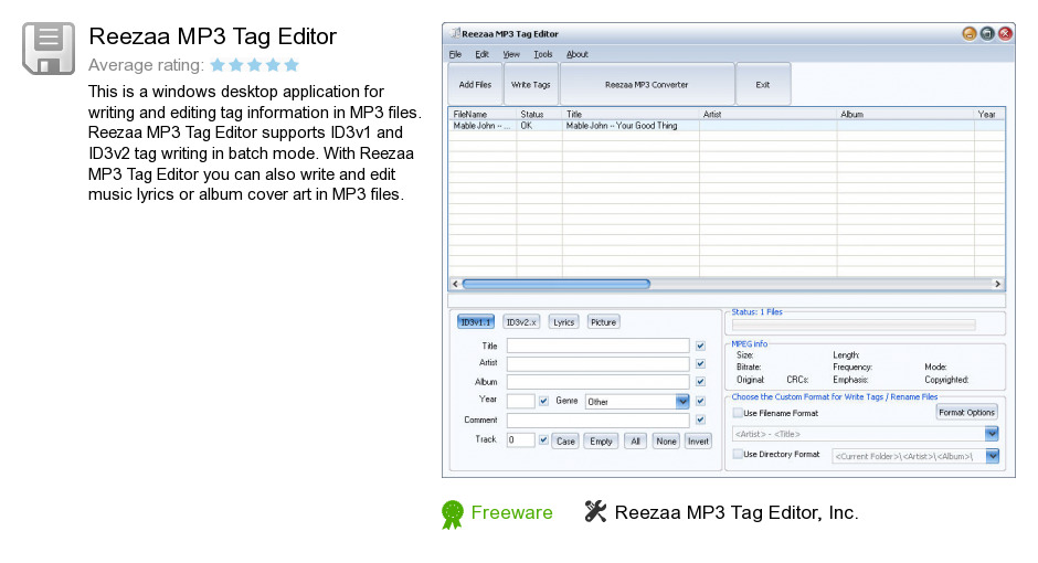 Reezaa MP3 Tag Editor
