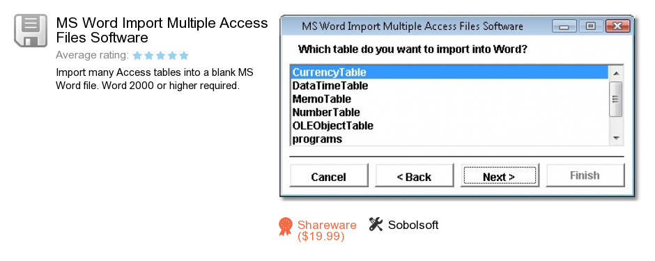 MS Word Import Multiple Access Files Software