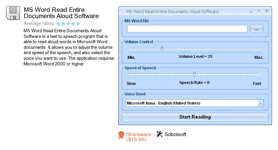 MS Word Read Entire Documents Aloud Software