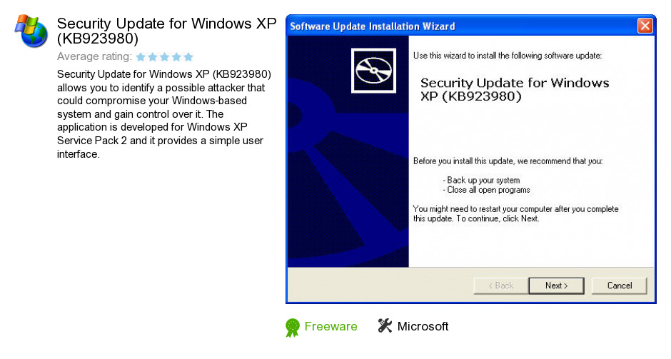 Security Update for Windows XP (KB923980)