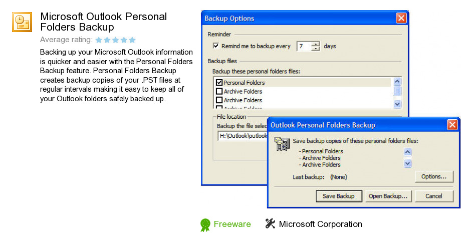 Microsoft Outlook Personal Folders Backup