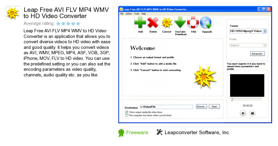 Leap Free AVI FLV MP4 WMV to HD Video Converter