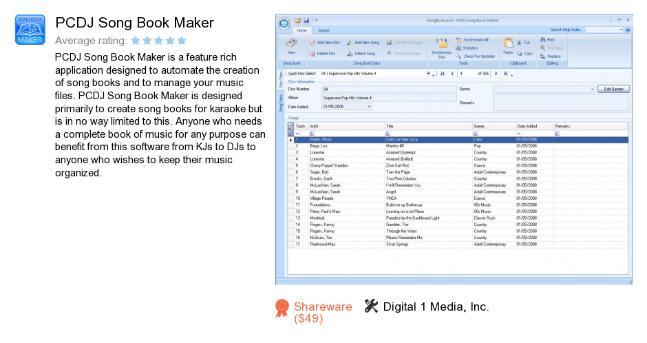 PCDJ Song Book Maker
