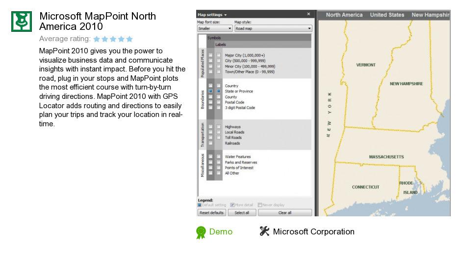 Microsoft MapPoint North America 2010