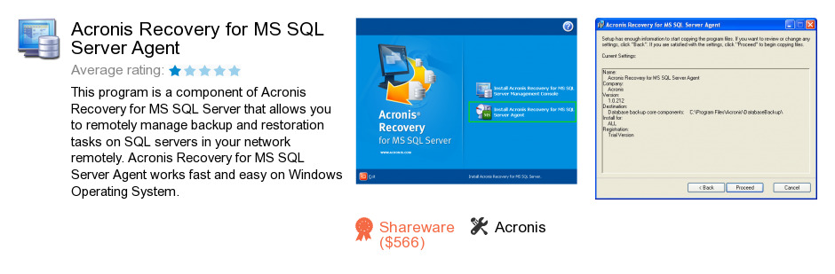 Acronis Recovery for MS SQL Server Agent