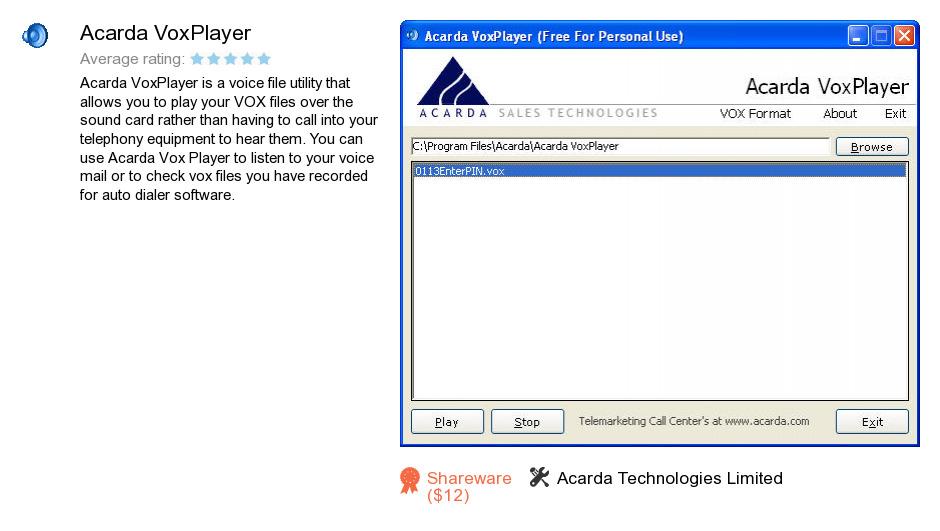 Acarda VoxPlayer