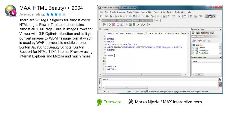 MAX's HTML Beauty++ 2004