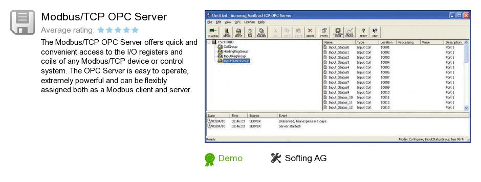 Modbus/TCP OPC Server