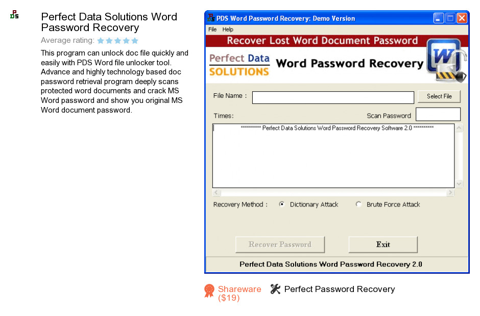 Perfect Data Solutions Word Password Recovery